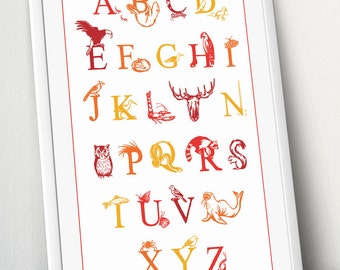 Alphabet, ABC, Canadian animals and North American animals alphabet