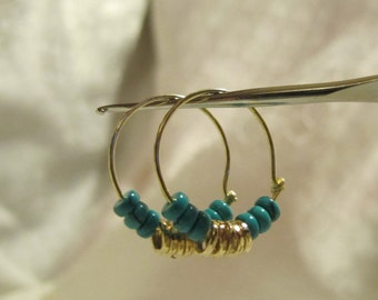 Turquoise Hoops. Handmade Earrings of Golden color combined with Turquoise gemstone beads. Real Turquoise Gemstone. Delicate.