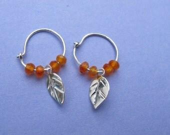 Carnelian Hoop Earrings. Handmade Sterling Silver earrings Set with Carnelian gemstone beads and a Silver leaf. Orange gem beads. Delicate.