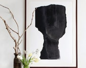 Large Scale Art Print, Abstract Minimalist Black Portrait, 50x70 Big Poster Man Face, 70x100