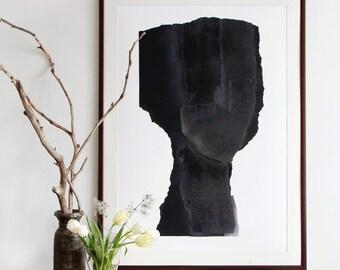 Large Scale Art Print, Abstract Minimalist Black Portrait, Big Poster Man Face