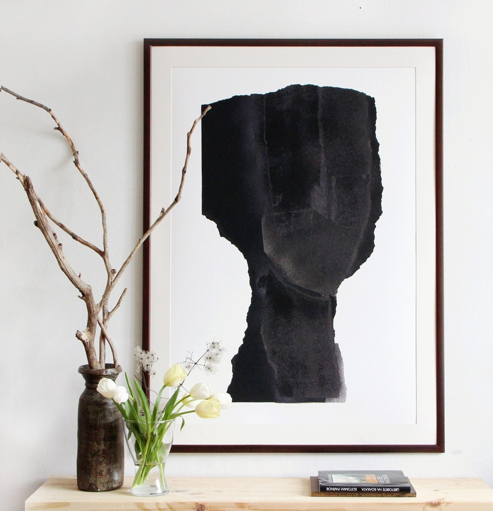 Large Scale Art Print Abstract Minimalist Painting Black Art