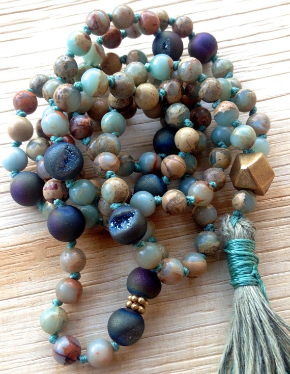 Boho African Opal Mala Beads, 108 Mala Beads,  October Birthstone Tassel Necklace,  Hand Knotted Mala for Meditation and Yoga Practice