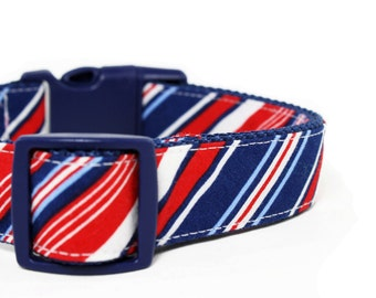 Red White Blue Striped Dog Collar Stripes Preppy Boy Dog Collar - Brady