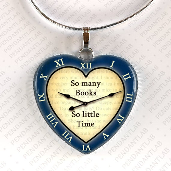 How To Make A Book Quote Pendant : So many books little time navy blue pendant book by