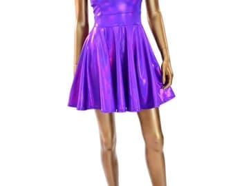 Purple Metallic Holographic Scoop Neck Cap Sleeve Fit and Flare Skater Skate Dress 150202