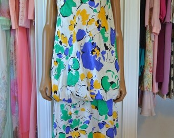 Tan Giudicelli 1980s Silk Dress Bubble Drop Waist One Shoulder Party Dress / 40/ M/L