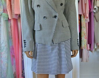 ESCADA Blazer by Margaretha Ley Black and White Houndstooth Virgin Wool Made in Germany/36/ M