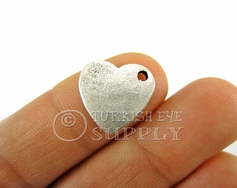 5 pc Silver Heart Charms, Antique Silver Plated Slightly Curved Hammered Heart, Turkish Jewelry