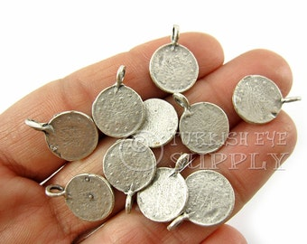 10 pc Rustic Coin Charms, Coin Pendants, Ottoman Coin Replica Charms, Turkish Coin Findings, Antique Silver Plated, Turkish Jewelry