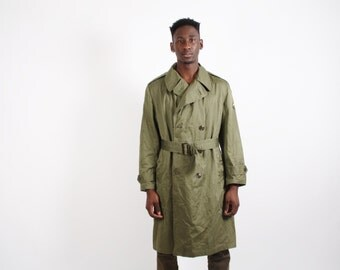 1950s Military Jacket - 50s Trench Coat - Vintage Army Grunge Jacket - 1747