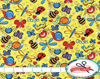 Happy BUGS Fabric by the Yard, Fat Quarter Insect Fabric Kids Fabric I SPY Fabric 100% Cotton Fabric Quilting Fabric Apparel Fabric t3-18