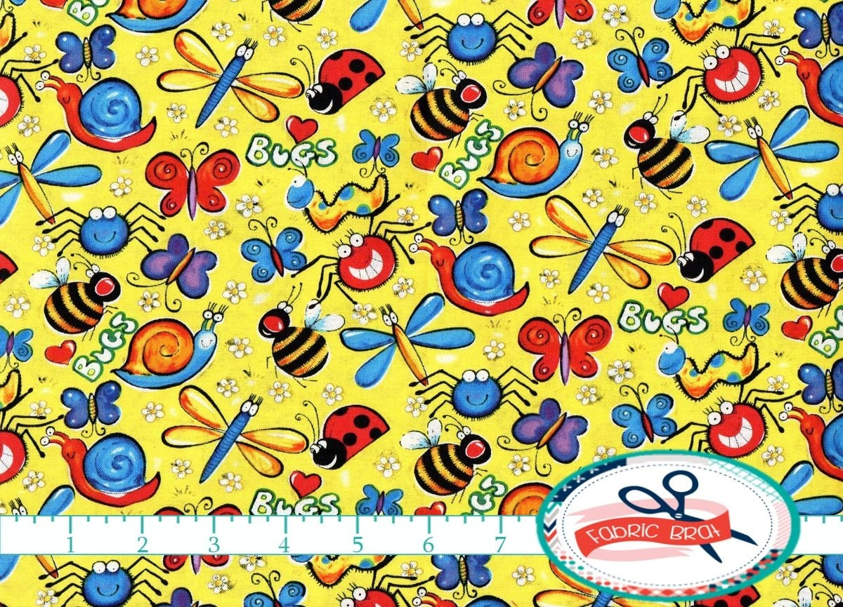 Happy bugs fabric by the yard fat quarter insect fabric kids for Kids fabric by the yard