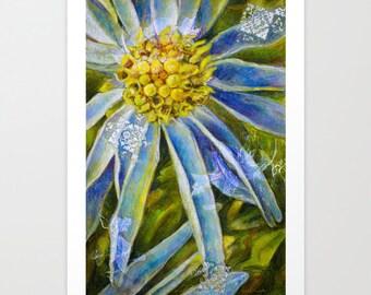 Acrylic and Mixed Media Giclée Print, Fine Art Print, Flower Print, Choose Size, Free Shipping