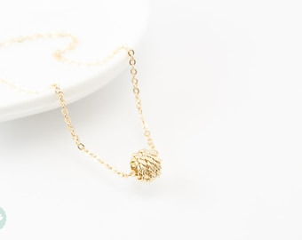 Knot necklace, gold knot, gold necklace, gold knot necklace, ball necklace, cute necklace, knot charm