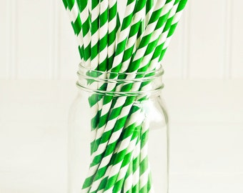 Paper Straws in Pine Green & White Stripes - Set of 25 - Cute Fun Christmas Unique Pretty Wedding Birthday Party Shower Accessories Decor