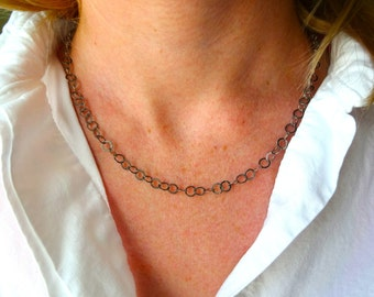 Simple Beautiful Oxidized 925 Sterling Silver Chain and Labradorite with Freshwater Pearls - Gift for Her; Gift for Mom; Layering Chain