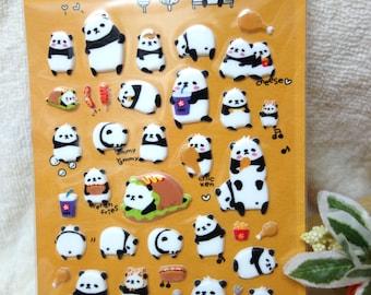 Kawaii Sticker, Cute Sticker, suatelier panda, bear, animal, card decoration, decor, bubble sticker, funny, adorable, burger