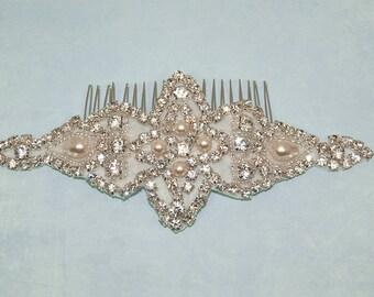 Rhinestone Pearl Bridal Hairband, Wedding Hairpiece, Diamante Headband Hair Clip