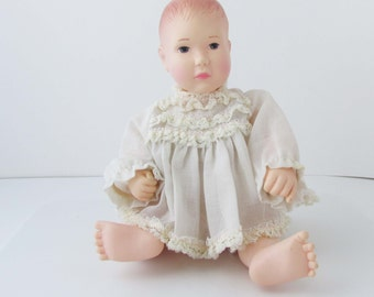 Effanbee Lisa Doll Vinyl Baby Doll Lace Dress Vintage 1980s - 10.5 Inches