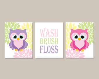 Owl Bathroom Decor Wash Brush Floss Rules Wall Art Set Of 3 Prints Theme