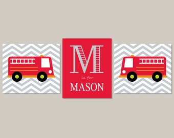 FIRE TRUCK Wall Art, Boy Nursery Pictures, Set of 3 Prints or Canvas, Big Boy Bedroom, Fireman Artwork, Personalized Boy Name Art