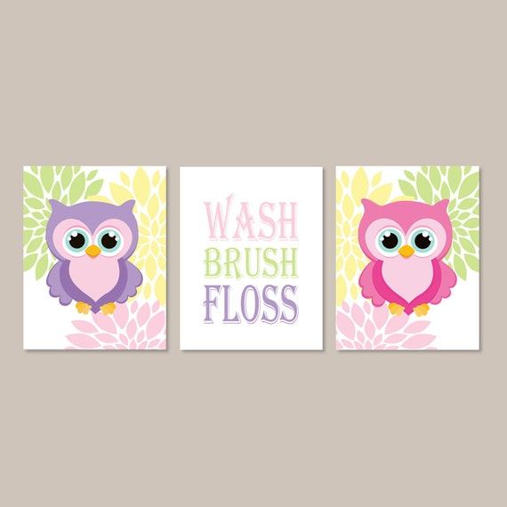 Owl Bathroom Decor Wash Brush Floss Bathroom Rules Wall Art