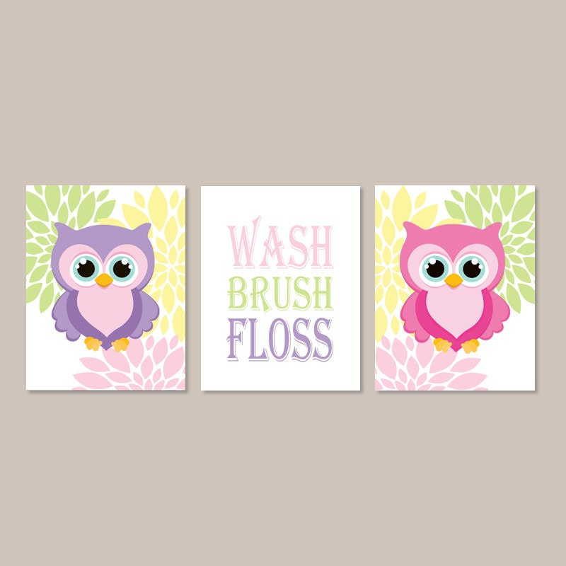 Owl bathroom decor wash brush floss bathroom rules wall art - Owl themed bathroom decor ...