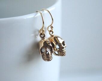 Skull Earrings, Gold Skull Earrings, Skull Jewelry
