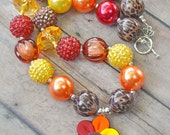 SALE CLEARANCE Gobble Gobble Turkey Chunky Bead Necklace - Ready To Ship