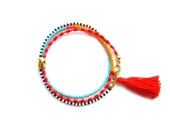 Beaded Wrap Bracelet Red Tassel Bracelet Wrap Around Bracelet Beach Jewelry Hippie Bracelet