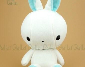 "Bellzi® Cute Rabbit Plush Stuffed Animal Toy White ""Teal"" Contrast Bunny Plushie - Bunni"