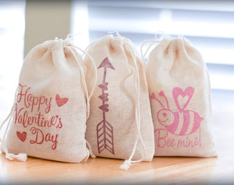 Valentine Bags Holiday Set muslin cotton favor bag 15 2.75x4 with stamp goodies treat bag