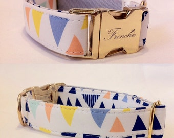 "Adjustable dog collar ""Blue Triangles """