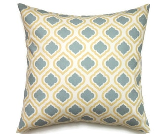 Yellow and Blue Pillow Cover, 20x20 Pillow Cover, Trefoil Decorative Pillows, Designer Couch Pillow, Blue Pillow Cover Curtis Saffron Macon