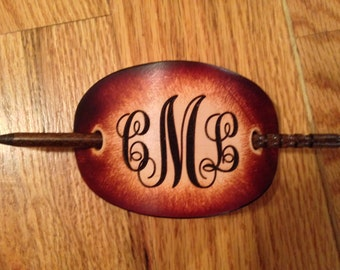 Leather Barrette, stick barrette, Initials or Name engraved Free! Made in the USA