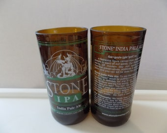Upcycled Stone IPA Glass Beer Bottle Drinking Glasses Stone Brewing Company Set of 2