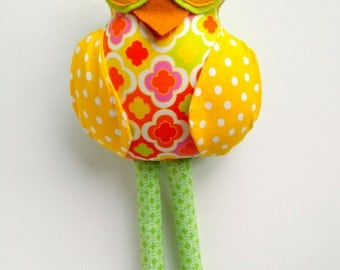Stuffed owl, Owl doll, Plush owl, Yellow lime pink, Fabric owl toy, Patchwork owl, Owl softie, Cloth owl toy, Plushie owl, Woodland hoot owl