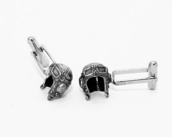 Battle of Britain Fighter Pilot's Helmet Cufflinks in English Pewter, Gift Boxed, WW2 Spitfire and Hurricane (wa)