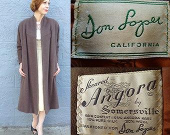 Vintage 1950s Don Loper Coat // Umber // Angora + Silk + Wool // Bow Detail // Small - Medium