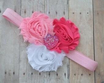Baby Valentine's headband, Valentine's day baby headband, girls heart headband
