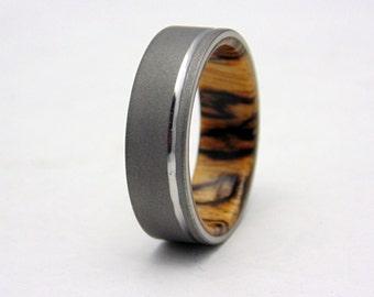 Titanium and wood wedding band  Spalted Tamarind wood and blasted Titanium ring