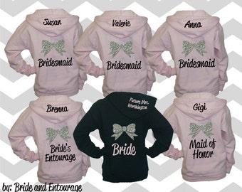 Set of 6 Bridesmaid hoodies with bow and name. Bridesmaid sweatshirt. Bridesmaid hoodie. Bridesmaid jacket. Wedding jackets. Wedding hoodies