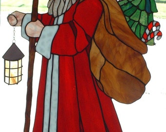 Santa Bearing Gifts Stained Glass Pattern- 32 inches tall, 20.5 inches wide