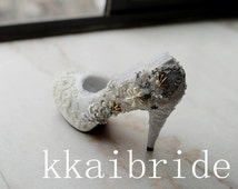 Wedding lace shoes,Pearl weeding shoes,Custom White/Ivory Wedding   shoes,Pearl weeding shoes, wedding shoes