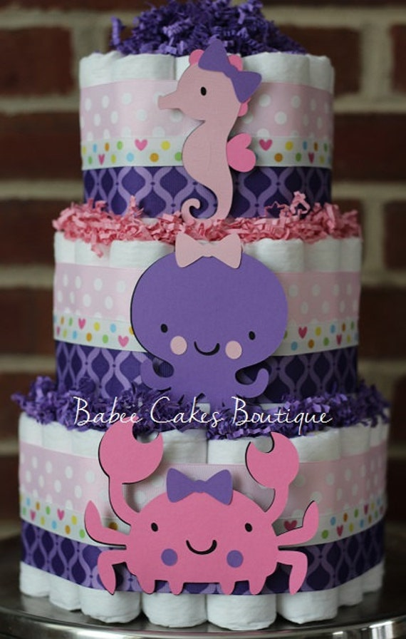 3 Tier Pink And Purple Under The Sea Diaper Cake Girls Under