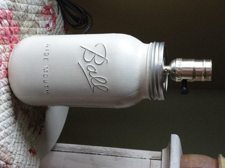 mason jar lamp white jar lamp mason jar lighting table. Black Bedroom Furniture Sets. Home Design Ideas