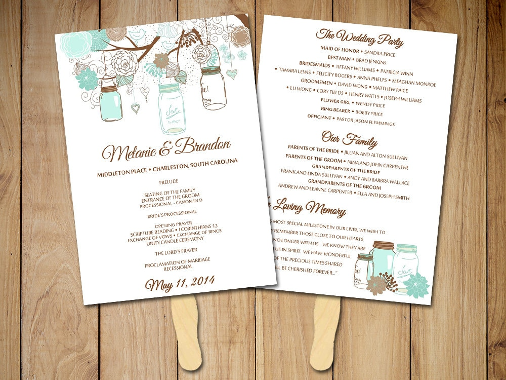 Request a custom order and have something made just for you for Wedding program fans templates free