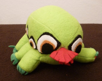 Green Bug Monster Plush With Eight Gold Eyes