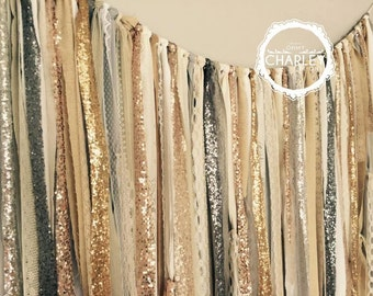 Gold Silver Champagne Rose Gold Pewter Sequin & Lace Backdrop Wedding Garland -  Backdrop - Industrial Rustic Chic
